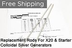 EXTRA SILVER RODS 99.99% FOR OSG COLLOIDAL SILVER GENERATORS (3.25, 8.25, 8.75 INCHES)
